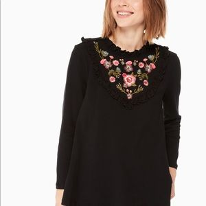 Kate Spade Embroidered mix media top